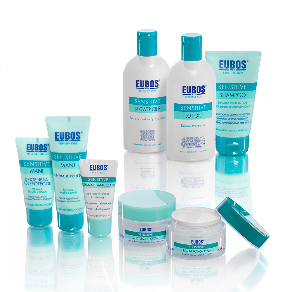 eubos skin care sensitive packaging agenzia Studio Bluart, graphic design, castelfranco veneto