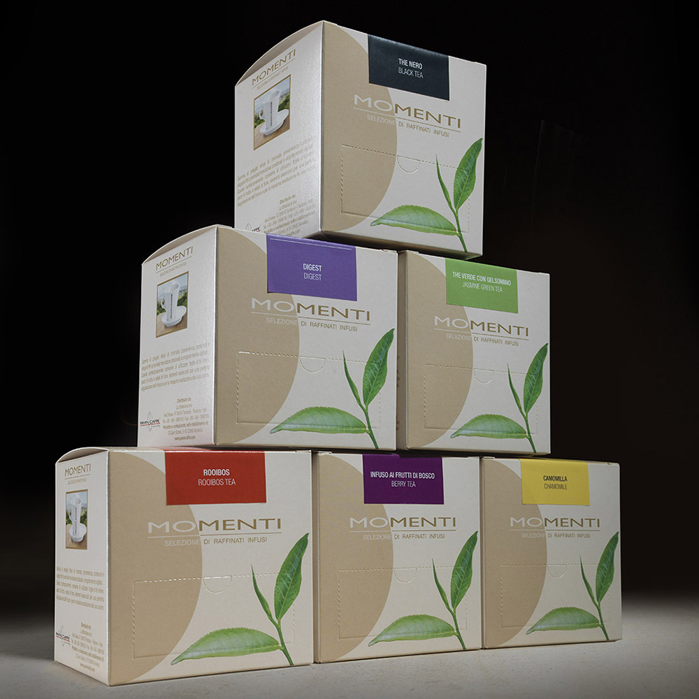 pavin caffe packaging infusi tea momenti agenzia Studio Bluart, graphic design, castelfranco veneto