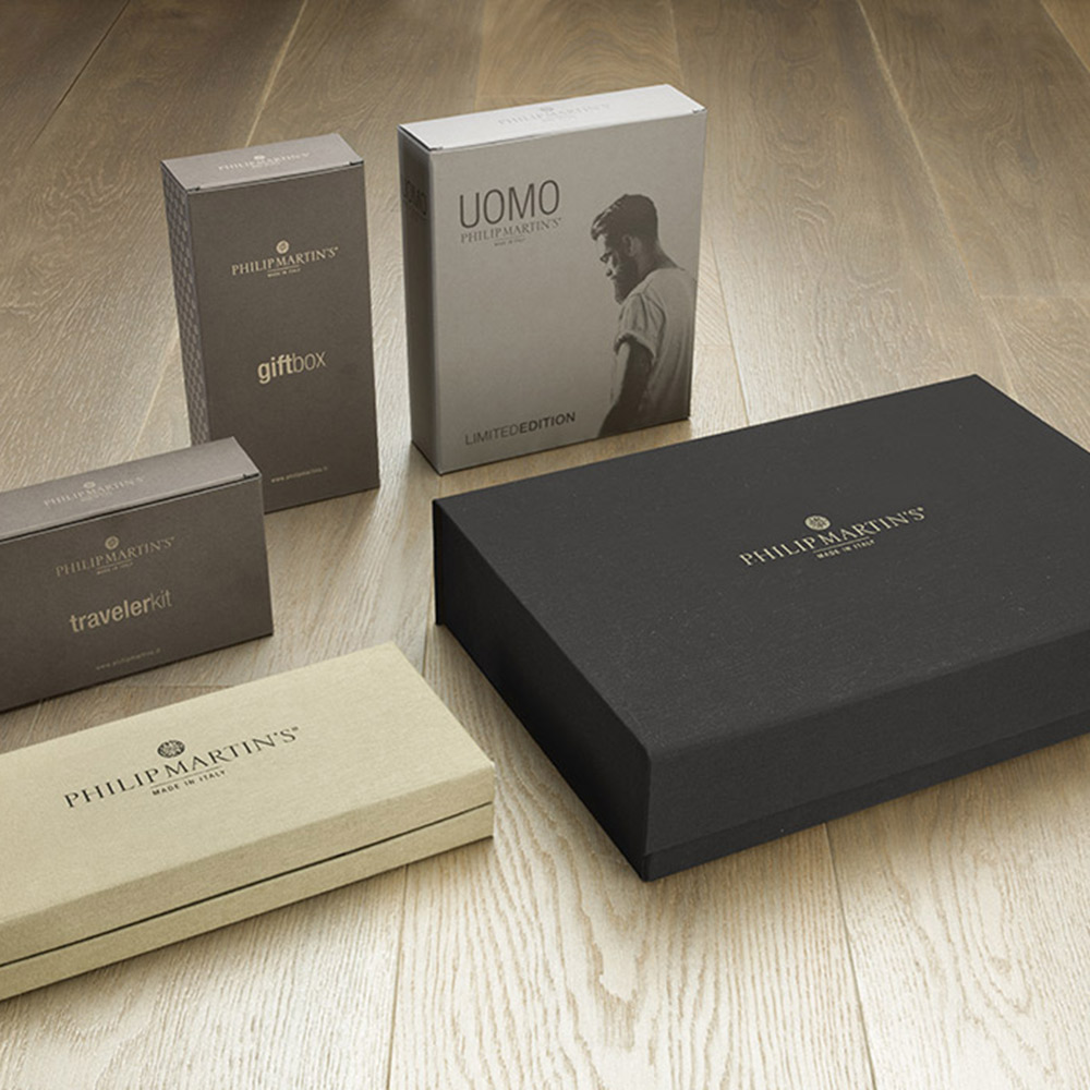 philip martins packaging cofanetto regalo gift hair packaging agenzia Studio Bluart, graphic design, castelfranco veneto