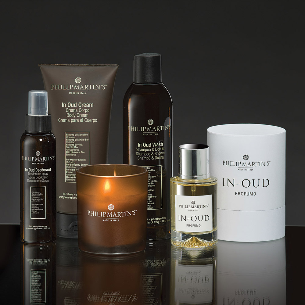 philip martins collezione in oud shampoo skin care packaging agenzia Studio Bluart, graphic design, castelfranco veneto