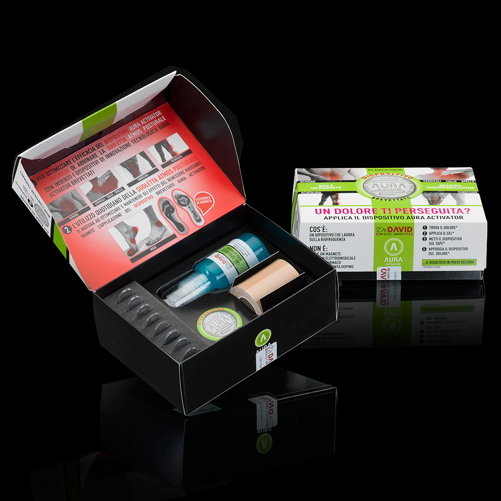 aura universo medicale packaging kit anti dolore agenzia Studio Bluart, graphic design, castelfranco veneto